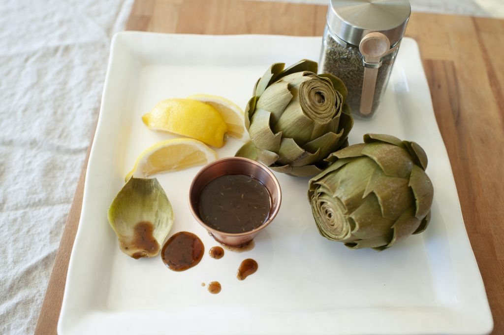 Steamed Artichokes with Balsamic Herb Butter