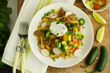 Healthy'd Up Carne Asada Fries with Avocado Salsa