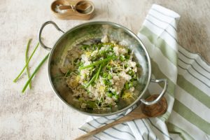 Creamy Cauliflower Risotto with Peas and Asparagus