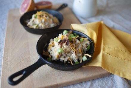 "Cheesy Cauliflower ""Grits"" with Bacon"