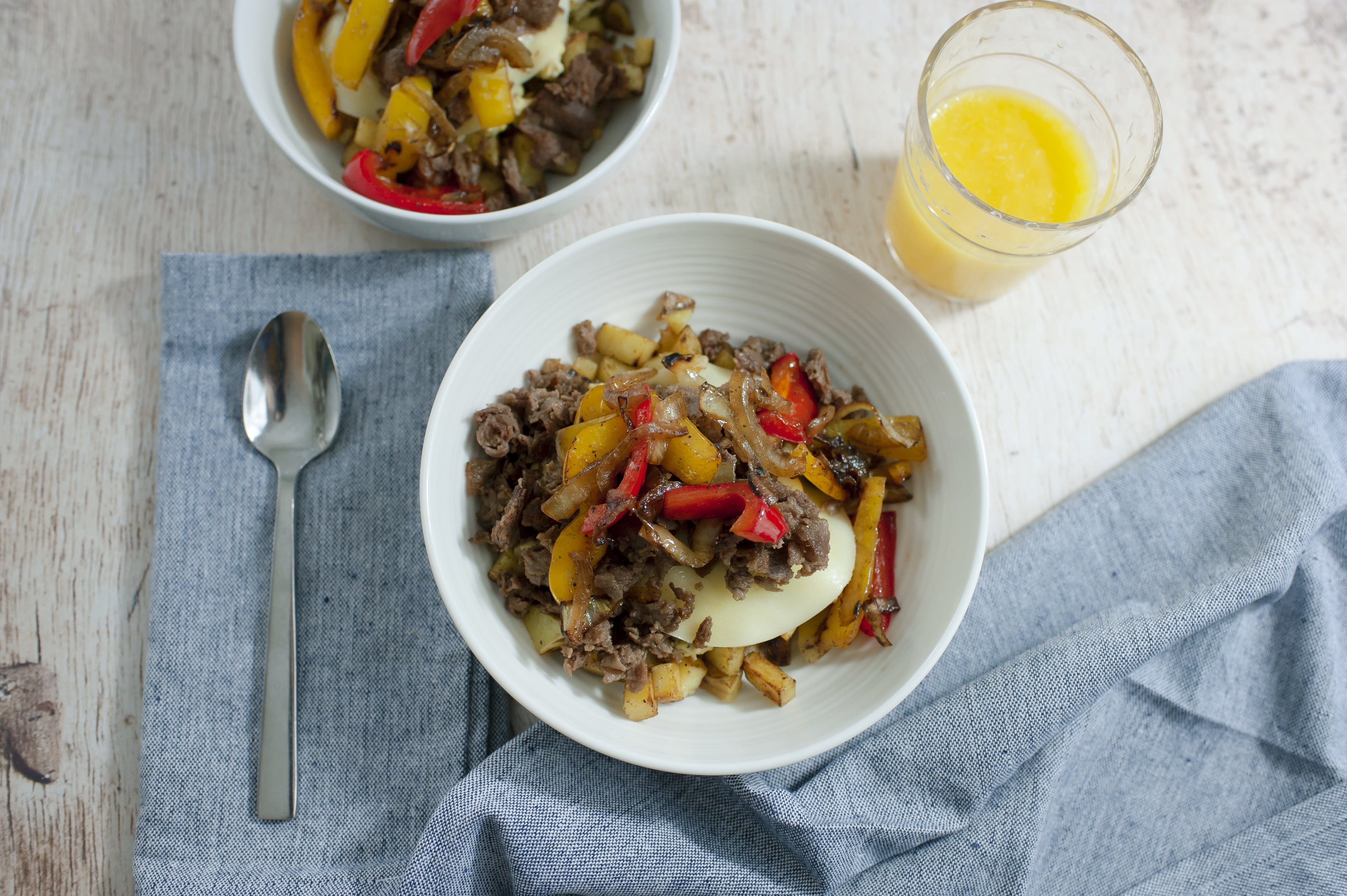 Cheesesteak Egg Scramble Bowl