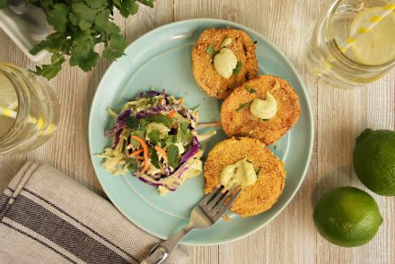 Fried Green Tomatoes with Cilantro Slaw and Avocado Cilantro Lime Remoulade