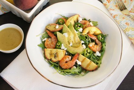 Grilled Peach and Avocado Salad with Lemon Shrimp and Homemade Honey Mustard Dressing