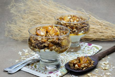 Pineapple-Apricot Granola over Honeyed Greek Yogurt