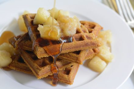 Gingerbread Waffles with Apple Compote