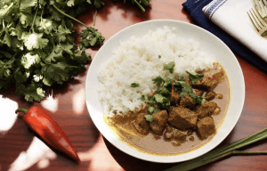 Slow Cooker Beef Randang with Jasmine Rice