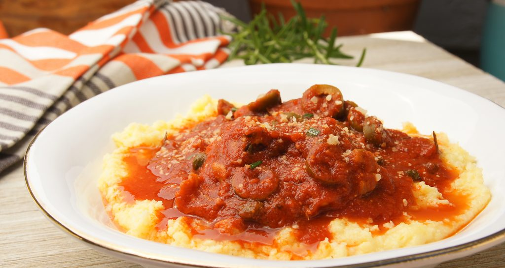 Slow Cooker Tuscan Chicken with creamy parmesan polenta