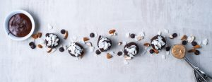 Dark Chocolate-Dipped & Coconut-Topped Creamy Almond Bites
