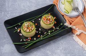 Raw Sauerkraut Confetti Salad in Cucumber Ribbons