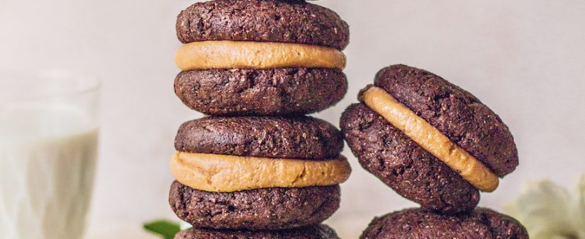 Chocolate Brownie Peanut Butter Sandwich Cookies