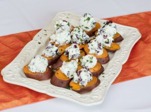 Sweet Potato 'Crostini' with Goat Cheese & Cranberries