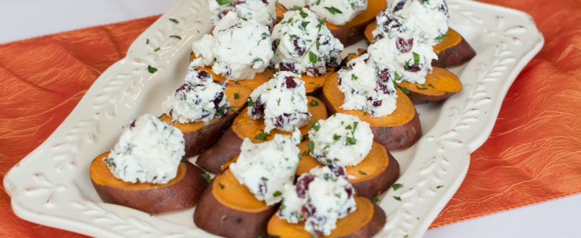 Sweet Potato 'Crostini' with Goat Cheese & Cranberries