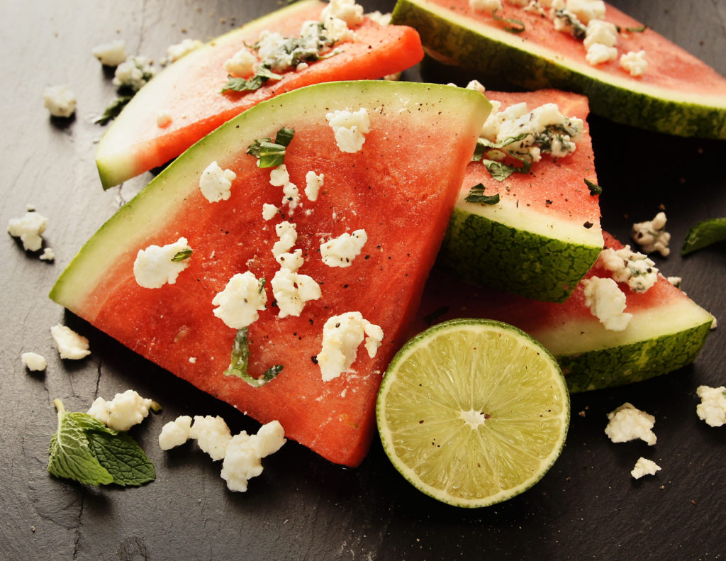 Watermelon with Feta, Mint and Lime Salsa